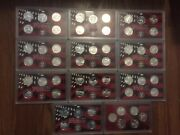 Complete Set 1999-2008+2009 Us 90 Silver Proof State Territorie Quarter 56 Coin