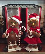 Vintage Telco Christmas Gingerbread Boy And Girl Motionette, Animated Rare