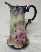 Antique Nippon Hand Painted 11 Pitcher Cobalt Blue Pink Roses Made In Japan