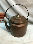 Antique Copper Tea Kettle W/ Lid Early Hand Hammered Hand Crafted , Early 1800s