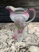 Antique Vintage Nippon Pitcher Hand Painted Roses 9 Inches Tall. Gold Color Trim