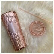 Starbucks Korea Venti Pale Rose Gold Studded Cold Cup Tumbler - Nwt