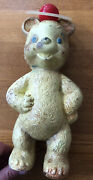 Vintage Gerber Rubber Foam Toy Bear With Rattle Ball On Head Extremely Rare