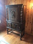 Antique Jacobean 9 Piece Dining Set Walnut Wood Sideboard Hutch Table And Chairs