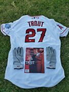 Mike Trout Angels Autographed Signed 2012 Asg Allstar Jersey Lot W/ Gloves