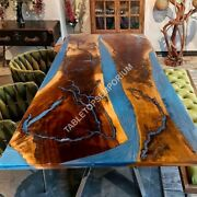 Blue Resin Walnut Epoxy Dining Table Top Furniture Handmade Wood Collectible Art