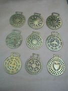 Collection Of Nine Early Vintage Horse Brasses Brass Hearts Lucky Clover Spade