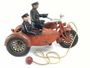 1930and039s Cast Iron Hubley Harley Indian Motorcycle/sidecar W/ Original Pull String