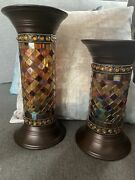 Partylite Global Fusion Stained Glass Mosaic Column Pillar Candle Holder Pair