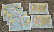 Lot 6 Vintage 1986 Colorprint Amc Us World Map Table Mats Learning Geography