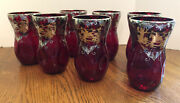 Antique Set 7 Sterling Silver Ruby Red Crystal Glass Thumbprint Glasses Tumblers