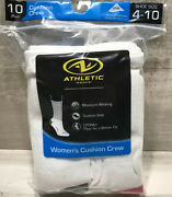 New Athletic Works Moisture Wicking Womenand039s 10 Pair Cushion Crew Socks Size 4-10