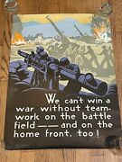 Vintage 1944 Wwii Motivational Poster We Can't Win A War Without Teamwork