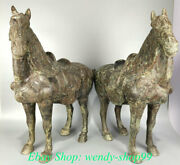 24 Antique Old Chinese Bronze Ware Dynasty Running War Horse Statue Pair