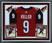 Clayton Keller Arizona Coyotes Deluxe Framed Signed Red Adidas Authentic Jersey