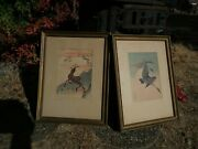 2 Antique Framed Prints Geese And Moon Deer And Autumn Leaves Asian Art Decor Cultur