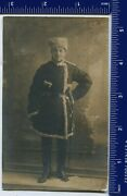 Wwi Photo Russian Army Officer, Cavalry Saber, Papakha, Fur Coat, Uniform