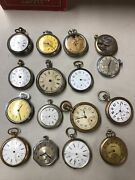 Lot Of 16 Old Vintage Pocket Watches For Parts Some Silver And Gold Filled