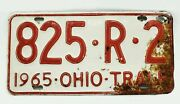 1965 Ohio Trailer License Plate 825-r-2 Red And White Car Tag Vintage Man Cave