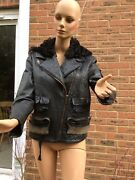 Acne Pebbled Leather Star 1 Jacket With Shearling Hood Size 40 Fits Uk12