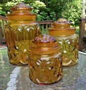 Vintage 3 Piece Le Smith Amber Gold Moon And Stars Canister Apothecary Set