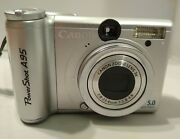 Canon Powershot A95 5.0mp Digital Camera - Silver Tested And Working