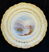 Copeland Spode Antique Porcelain Plate Hand Painted Church Signed Arthur Perry