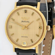 Longines Admiral 5 Stars Automatic 18k Gold Linen Dial 69-394aac Cal.341 34-35mm