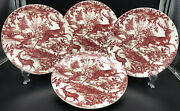 Pottery Barn Red Deer Salad Plates Rare And Discontinued Set Of 4