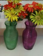 Set Of 3 Color Glass Ribbed Flower Vases Ruby Red Green And Pink 7.75 Inches