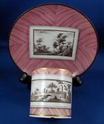 Antique 19thc Doccia Porcelain Wood Grain And Scenic Cup And Saucer Porzellan Tasse