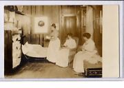 Associated Real Photo Postcard Rppc - Boarding House Women Ill Reading Sewing