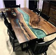 Resin River Epoxy Wood Dining Table Top Luxury Resin Table For Big Family Décor