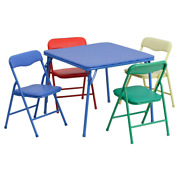 Blue Kids Kids Activity Table Set With 4 Folding Chairs Metal Indoor Modern