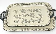 Temp-tations By Tara Presentable Ovenware 2 Trays Oblong Hand Painted And Crafted