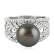 2.20cts Natural Round Diamond 14k Solid White Gold Pearl Cocktail Ring Size 7