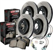 Stoptech 977-35002 Sport Brake Kit Slotted Front And Rear Incl. Rotors Pads And