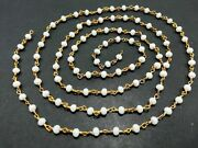 300 Feet White Chalcedony 3-4mm Hydro Beads Beaded Rosary Chain 24k Gold Plated