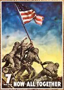 Original Wwii Home Front Poster Iwo Jima Flag 7th War Loan Now All Together