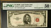1953b 5 Legal Tender United States Star Note Pmg50 Epq About Unc. Red 3771