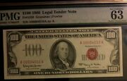 1966 100 Pmg 63 Choice Unc Legal Tender Note Red Seal Low Ser A00004010a