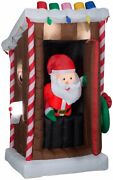 6 Ft Animated Santa In Outhouse Christmas Airblown Lighted Inflatable Candy Cane