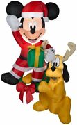 5 Ft Hanging Mickey Mouse And Pluto Christmas Airblown Lighted Inflatable