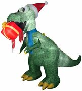 7.5 Ft Animated T-rex With Present Christmas Airblown Lighted Inflatable