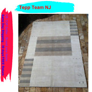 Contemporary Indian Hand Made Cream Wool Area Rug 10and039 X 14and039