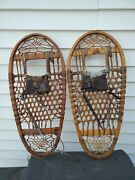 Vintage 44 And 45 Ww2 U.s. C.a. Lund Hastings Minnesota Wood 13 X 28 Snow Shoes