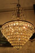 Antique Vintage French Basket Style Crystal Chandelier Luster Light 1960and039s.19 In