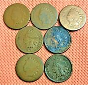 1868 1870 1873 1874 1875 1876 1878 Indian Head Penny Cents, 7 Key Date Coins