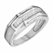 0.60 Ct Princess Natural Diamond Eternity Band Ring For Menand039s 14k White Gold