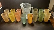 Set Of Vintage Spaghetti String Glasses 14 And Pitcher